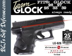 Crimson Trace Laser Sight Glock LG-626  | Crimson Trace The compact size of the Crimson Trace laser grip for the Glock  leaves most of the factory grip area exposed. This results in the pistol's weight, handling and feel being largely unaffected.          Laser Sight for GLOCK LG-626  Fits: GLOCK 26, 27, 28, 33, 39    Installing a Crimson Trace laser grip on a Glock is quick and easy.