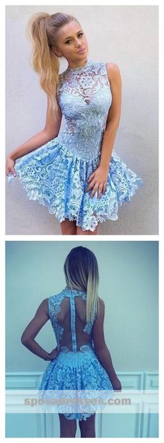 b83df6e0b1a High Neck Blue Lace Illusion Short Cheap Homecoming Dresses Online