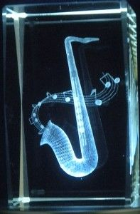 """Glass Paperweights with Etching Inside   3D Laser Etched Crystal Glass Tower Paperweight Saxophone New 3""""X2""""X2 ..."""
