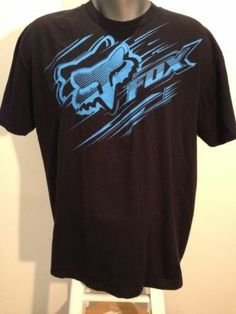 Fox racing Mens Black T-Shirt Blue streak logo Extra Large XL S/S Make An Offer!