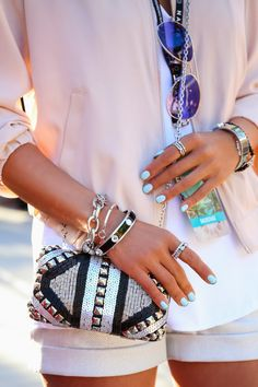 Jewellery @ja Ha #armparty & clutch Teen fashion Cute Dress! Clothes Casual Outift for • teens • movies • girls • women •. summer • fall • spring • winter • outfit ideas • dates • school • parties mint cute sexy ethnic skirt mint nail