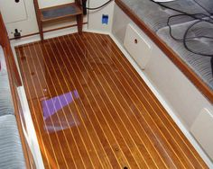 Cleaning and finishing teak interiors Want to #GoSailing? Comr to #LunaSeaInn.com and #Sail on the clearest waters this side of the Pacific