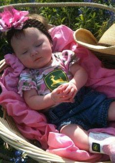 Baby John Deere Pink Camo - love this baby girl's pink camo John Deere shirt and…