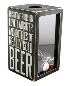 This home runs on love laughter and bottles of really cold beer vintage wooden shadow box beer cap collection storage
