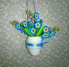 Гофрированный пасхальное яйцо с незабудки цветы Quilling яйцо бумага искусство яйцо дерево Бумажные цветы Весенний декор Пасхой украшения пасхального декора