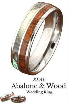 Tungsten wood wedding band made with 100% real abalone and koa wood. This is such a beautiful wood wedding band.