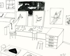 Shuvinai Ashoona, Composition (Shuvinai in the Co-op Studio), ink and pencil on paper, x 66 cm, collection of Barry Appleton. Wooden Shack, Detailed Drawings, Canadian Artists, Tent Camping, Book Art, Studios, Composition, Pencil, Ink