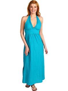 Tommy Bahama - Crinkle Cotton Lawn Halter Dress w/ Smocked Back (Teal) - Apparel, $134.00  #TommyBahama
