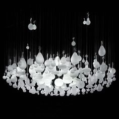 """Growing Vases"" chandelier made of glass vases 