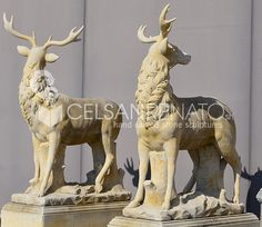Impressive sculptures representing a couple of deer, hand carved in Vicenza stone || Coppia di cervi scolpiti a mano in pietra di Vicenza  To find out more, visit our website