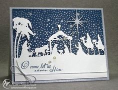 handmade Christmas card ... die cut Nativity scene in white ... Oh Come in Blue ... deep navy background fill with a myriad of stars ... beautiful!