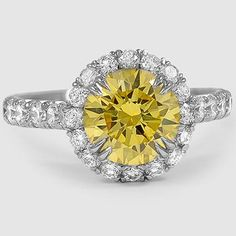 Platinum Sienna Diamond Ring // Set with a 2.07 Carat, Round, Very Good Cut, Fancy Vivid Yellow, VVS2 Clarity Diamond (From Unique Colored Gemstone Gallery) #BrilliantEarth