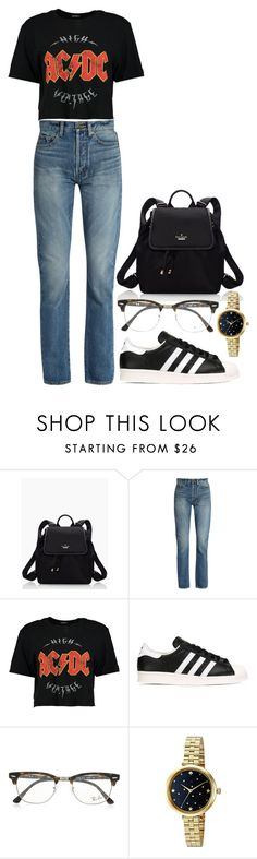 """""""i'm so grunge-y"""" by legitimately-kierstin ❤ liked on Polyvore featuring Kate Spade, Yves Saint Laurent, Boohoo, adidas Originals and Ray-Ban"""