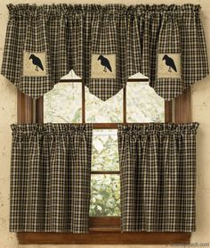 The Country Porch features Olde Crow lined single point curtain valances from Park Designs. Rabe, Needful Things, Window Curtains, Crow, Cottage, Windows, Primitive Decor, Roosters, Primitives