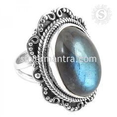 Beautiful Design! 925 Silver Labradorite Ring