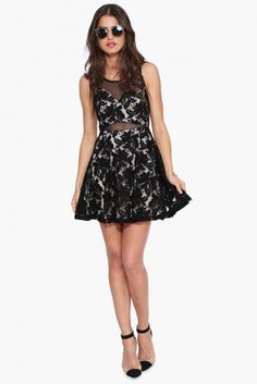 Mesh N Lace Dress in Black | Necessary Clothing