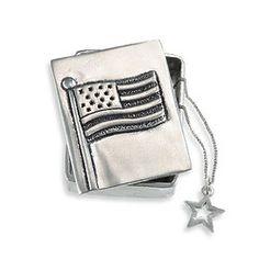 American Flag Pewter Wish Box
