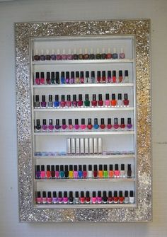 Mosaic Mirror framed display rack for beauty products- will hold approx 85-95 bottles size : 61cms x 90 cms shelf height 9.4 shelf depth 3.3 This is a…
