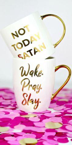 NEW Christian coffee mugs | Wake pray slay | Not today satan | bible verse mugs | Gifts for Christian Women