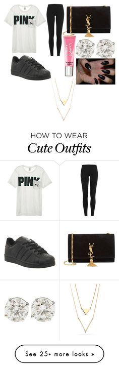 """""""back to school outfit"""" by dakitasharp on Polyvore featuring Victoria's Secret, Polo Ralph Lauren, Yves Saint Laurent, adidas and Beauty Rush"""