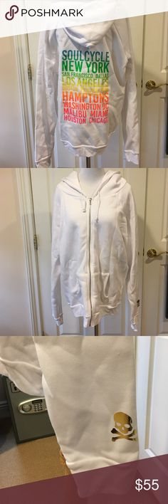 SoulCycle NWT Cities Rainbow Zip Hoodie Sz L SoulCycle NWT Cities Rainbow Zip Hoodie Sz L, retail $88, the garment tag is a Large but price tag says medium but item is really a large as seen in pic 4, I wanted a small and somehow ended up with this, been sitting in bag for a few months and went to bring it on vacation and noticed error, was so upset, but my loss is someone's gain 👍🏻😢😘, will come with soulcycle bag SoulCycle Tops Sweatshirts & Hoodies
