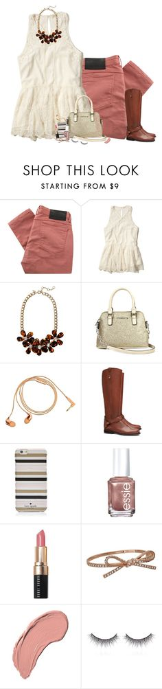 """Beating the winter blues with rosy colored hues..."" by curly-girl16 ❤ liked on Polyvore featuring Religion Clothing, Hollister Co., J.Crew, Liz Claiborne, Happy Plugs, Tory Burch, Kate Spade, Essie, Bobbi Brown Cosmetics and NYX"