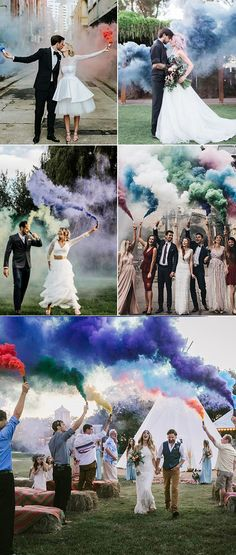 50 + Cool & Colorful Smoke Bomb Wedding Inspirations You Will Love Purple wedding smoke bombs hottest wedding ideas inspire your special day fall trends smoke bombs wedding smoke send off Wedding Send Off, How To Dress For A Wedding, Wedding Guest Book, Wedding Pictures, Cake Wedding, Pink Wedding Colors, Purple Wedding, Dream Wedding, Color Smoke Bomb
