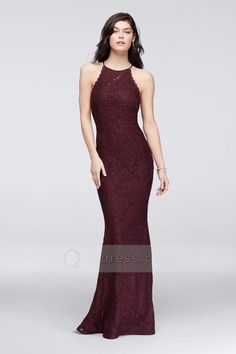 Sheath Halter Sleeveless Lace Prom Dress with Crystal Beads