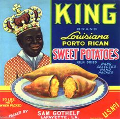 YAM-CRATE-LABEL-KING-BLACK-AMERICANA-LOUISIANA-C1940S-ORIGINAL-SWEET-POTATOES Vintage Advertisements, Vintage Ads, Vintage Posters, Vintage Black, Vintage Food Labels, Vintage Recipes, My Black Is Beautiful, Black History Month, History Facts