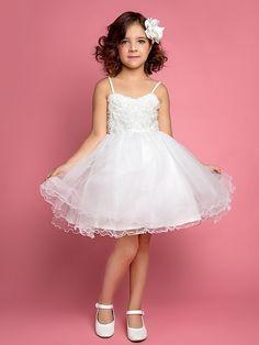 A-line/Ball Gown/Princess Knee-length Flower Girl Dress - Chiffon/Lace/Satin/Tulle Sleeveless - USD $ 44.99