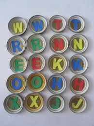 Baby food jar lid games.  You can vary it using upper and lower case, are you my mother game, patterns etc...