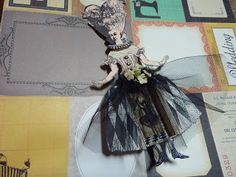 Paper doll made with Catherine Moore stamps.  Connie Fong, artist.