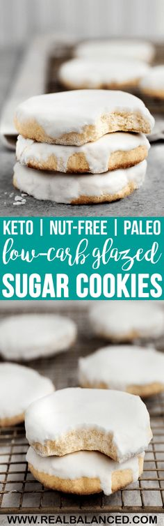 These Low-Carb Glazed Sugar Cookies are a delicious keto-friendly baked good that is perfect for curbing your sweet tooth! This recipe is low-carb, keto, nut-free, paleo, dairy-free, gluten-free, grain-free, vegetarian, refined-sugar-free, and contains only 3.2 grams of net carbs per serving! #lowcarb #keto #paleo #dairyfree #glutenfree #grainfree #nutfreeketo #paleoketo #dairyfreeketo #vegetarian #vegetarianketo #ketodessert #lowcarbdessert #ketobakedgood #lowcarbbakedgood