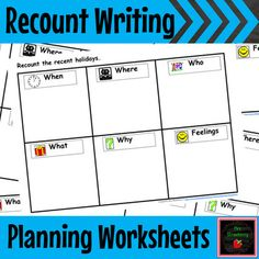 Recount Writing/ Newstelling Planning Worksheets - These worksheets are perfect for planning recount writing or newstelling of your 1st or 2nd grades. Includes a blank worksheet for recounting recent holidays, birthday party, an outing to the park, a visit to someone's house, favourite family holiday, favourite Christmas, outing to the beach, trip to the movies and a lot more! {first, second graders}