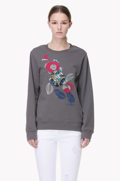 Embroidery and spangle detailed sweatshirt