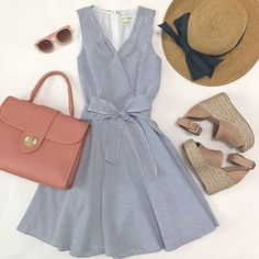 seersucker fit and flare dress, top handle pebbled leather pink rose satchel, packable navy bow hat, marc fisher blush wedge sandals, pink sunglasses, spring outfit, summer dress, petite fashion blog - click the photo for outfit details! #dressescasualspring