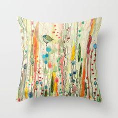 mixed media, watercolor, natural, bird, flower, fantastic, romantic, multicolored, vivid colours