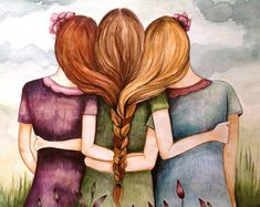sister gift to sister, gift for friend, intertwined hair, braided hair ,wall art gift for sister Three sisters at sunset art print Friendship Letter, Friendship Day Images, Happy Friendship Day, Photoshop Design, Three Friends, Best Friends, Best Friend Wallpaper, Sad Wallpaper, Iphone Wallpaper