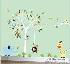 Children wall decals for owl nursery tree by Littlebirdwalldecals, $139.00