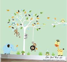 Children wall decals for owl nursery tree by Littlebirdwalldecals, $139.00