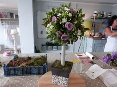 Learn to make a Floral Topiary Tree Tutorial | Great for weddings and parties... use the foliage from your garden along with your favourite cut flowers!