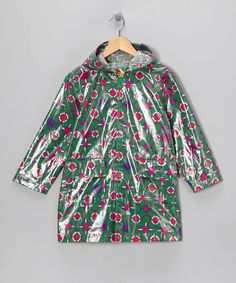 Green & Pink Raincoat - Infant, Toddler & Girls
