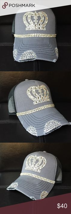 Grey Bling Trucker Hat Grey Bling Trucker hat! Rhinestone crown and rhinestone trim. Black mesh backing. Perfect for any occasion! Tracy Caliendo Designs Accessories Hats