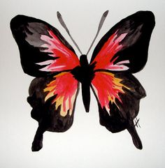 Scarlet Red Butterfly Painting- Original watercolor