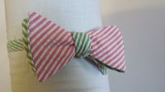 Green and Pink Striped Bow Tie by Phi Ties