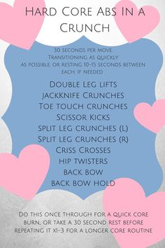 Are you looking for a HARD CORE workout to do when you're in a CRUNCH for time??? Puns intended, as always . Anyway, this quickie ab workout is sure to make your muscles burn and help you build a strong core. If you'd like to extend this routine, feel free to repeat it 1-3 times through. To make it a full workout, add in a 5 minute dynamic cardio warm-up before doing 1-4 cycles and 15-45 minutes of HIIT or steady-state cardio at the end (cardio length depending on how many cycles you did)…