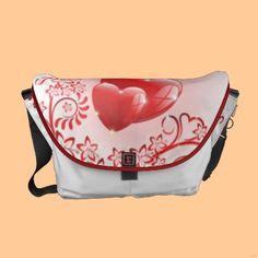 Love Ornamental Hearts Courier Bag by Bluedarkat