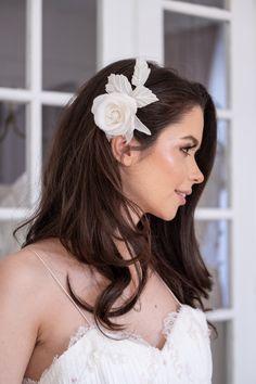 Bridal Headpiece Beaded Silk Rose Reverie Atelier www.reverieatelier.com Silk Roses, Silk Flowers, Bridal Hair Flowers, Bridal Hair Accessories, Bridal Headpieces, Crown, Fashion, Atelier, Moda