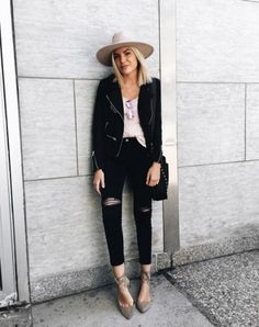 All black with a contrasting colored wool hat is incredibly chic.