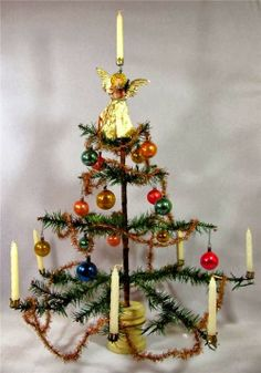 Antique GERMAN FEATHER TREE vintage Christmas Ornaments & Candle ...